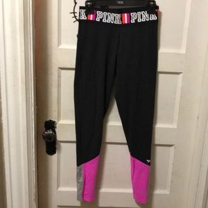 Pink leggings dark gray w pink & gray bottom